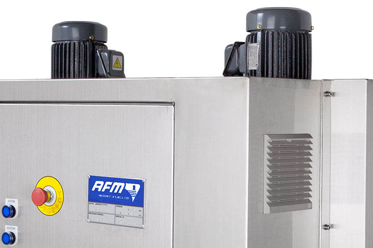 AFM ES-200 electric heat shrink tunnel independent air flow controls for precision label shrinking