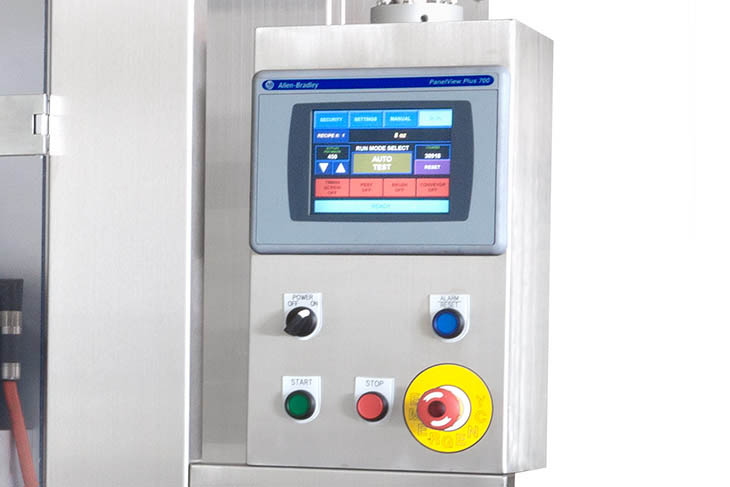 AFM LX-450 shrink sleeve labeler's control interface for programming shrink sleeve product runs