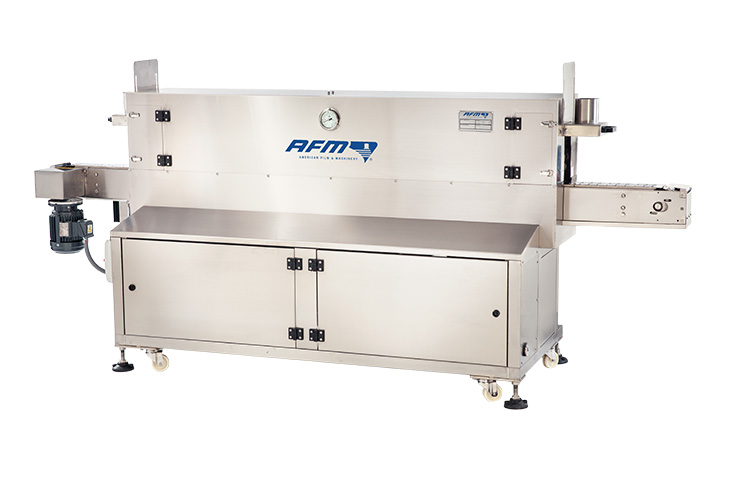 AFM WSN-GEN S steam heat tunnel for tamper evident banding and shrink sleeve labeling applications