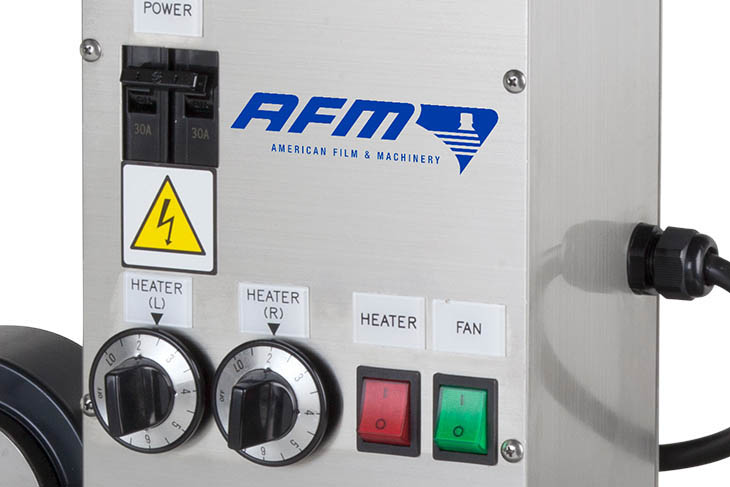 AFM GS Series radiant heat shrink tunnel's operator controls