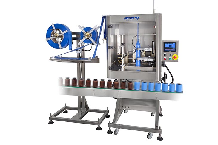 AFM LX-150 shrink sleeve labeler for tamper evident banding and shrink sleeve labeling applications