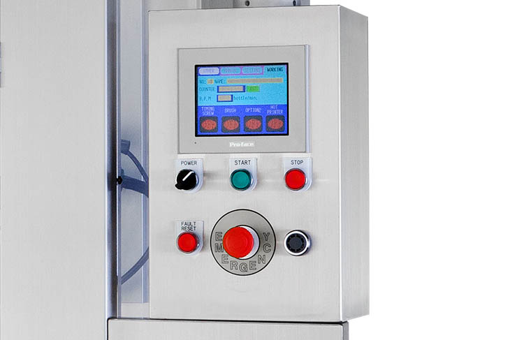 AFM LX-350 shrink sleeve labeler's control interface for programming shrink sleeve product runs