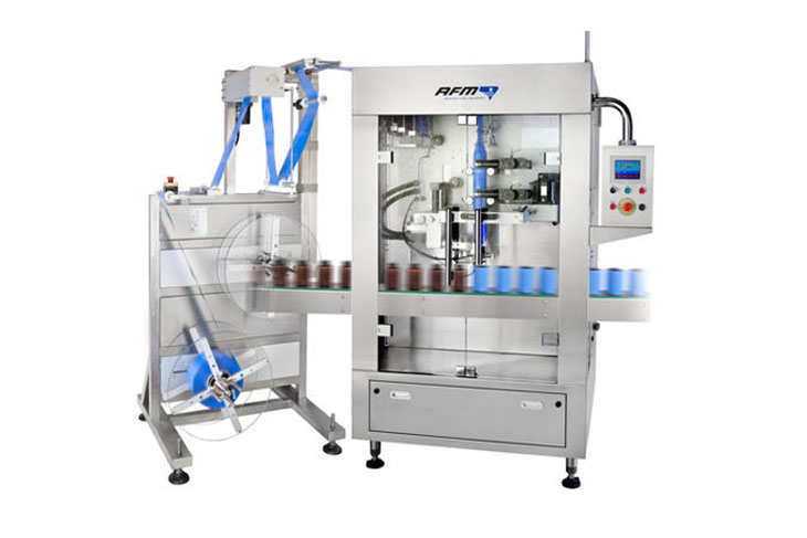 AFM LX-350 shrink sleeve labeler for tamper evident banding and shrink sleeve labeling applications