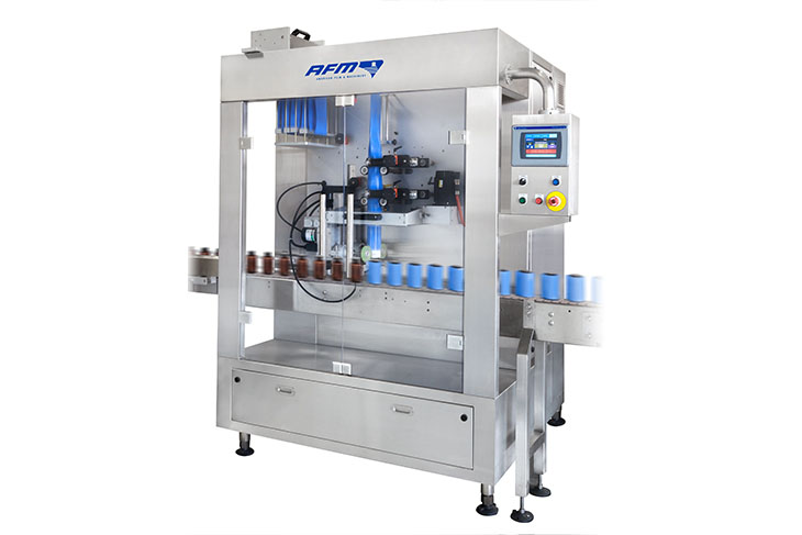 AFM LX-450 shrink sleeve labeler for tamper evident banding and shrink sleeve labeling applications