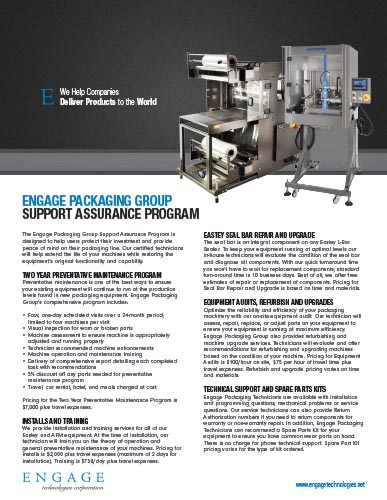 Engage Packaging Group Support Assurance Brochure